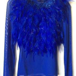 Gracia Blue feather Top Sz S